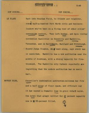 Primary view of object titled '[News Script: Officials return]'.