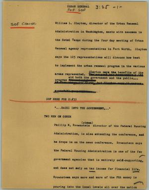 Primary view of object titled '[News Script: Urban renewal]'.