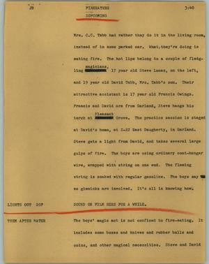 Primary view of object titled '[News Script: Fireeaters]'.