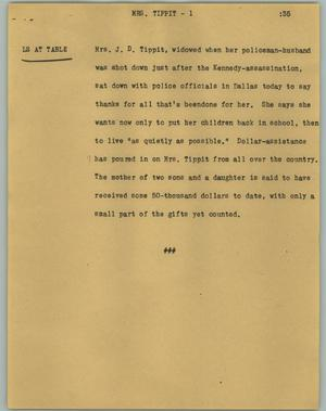 Primary view of object titled '[News Script: Mrs. Tippit]'.