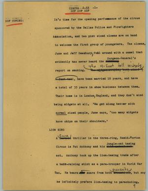 Primary view of object titled '[News Script: Circus]'.