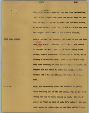 Primary view of object titled '[News Script: Hope]'.