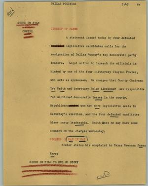 Primary view of object titled '[News Script: Dallas politics]'.