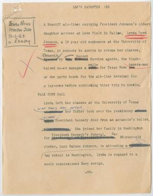 Primary view of object titled '[News Script: LBJ's daughter]'.