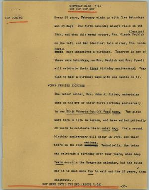Primary view of object titled '[News Script: Birthday gals]'.