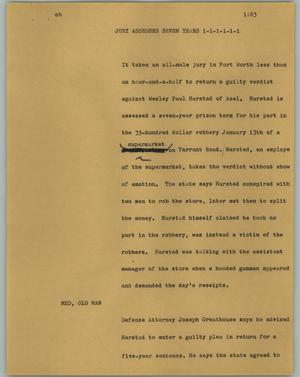 Primary view of object titled '[News Script: Jury assesses seven years]'.