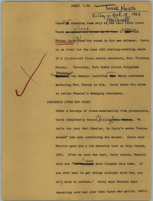 Primary view of object titled '[News Script: Curry]'.