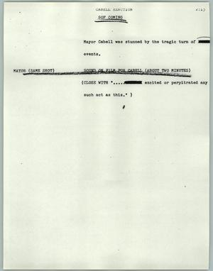 Primary view of object titled '[News Script: Cabell Reaction]'.