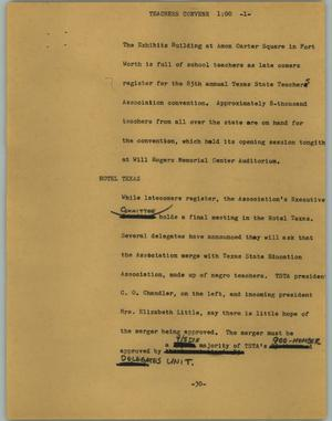 Primary view of object titled '[News Script: Teachers convene]'.