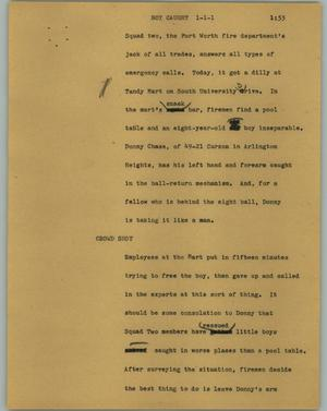 Primary view of object titled '[News Script: Boy caught]'.