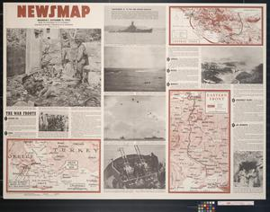 Primary view of object titled 'Newsmap. Monday, October 11, 1943 : week of September 30 to October 7, 213th week of the war, 95th week of U.S. participation'.