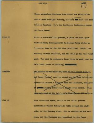 Primary view of object titled '[News Script: SMU Rice]'.