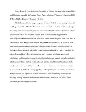 meditation thesis