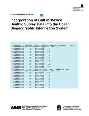 Primary view of object titled 'Incorporation of Gulf of Mexico Benthic Survey Data into the Ocean Biogeographic Information System'.