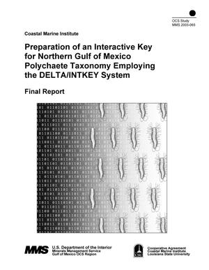 Primary view of object titled 'Preparation of an Interactive key for Northern Gulf of Mexico Polychaete Taxonomy Employing the DELTA/INTKEY System'.