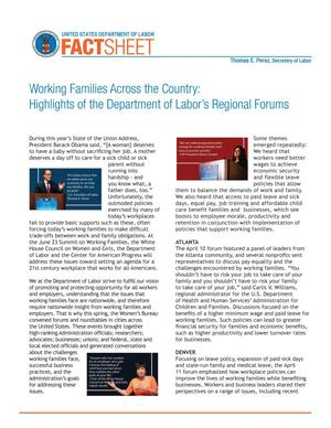 Primary view of object titled 'Working Families Across the Country: Highlights of the Department of Labor's Regional Forums'.