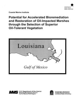 Primary view of object titled 'Potential for Accelerated Bioremediation and Restoration of Oil-Impacted Marshes through the Selection of Superior Oil-Tolerant Vegetation'.