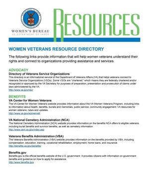 Primary view of object titled 'Resources: Women Veterans Resource Directory'.