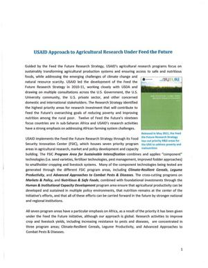 Primary view of object titled 'USAID Approach Agricultural Research Under Feed the Future'.