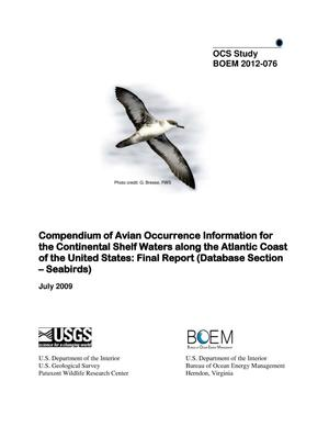 Primary view of object titled 'Compendium of Avian Occurrence Information for the Continental Shelf Waters along the Atlantic Coast of the United States: Final Report (Database Section-Seabirds)'.