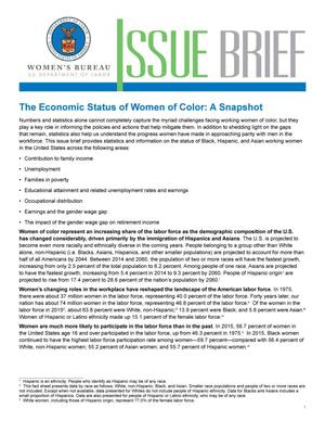 Primary view of object titled 'Economic Status of Women of Color: A Snapshot'.