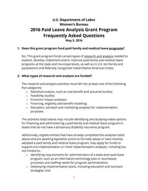 Primary view of object titled '2016 Paid Leave Analysis Grant Program Frequently Asked Questions'.