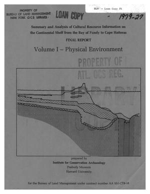 Primary view of object titled 'A Summary and Analysis of Cultural Resource Information on the Continental Shelf from the Bay of Fundy to Cape Hatteras: Final Report, Volume 1 -- Physical Environment'.