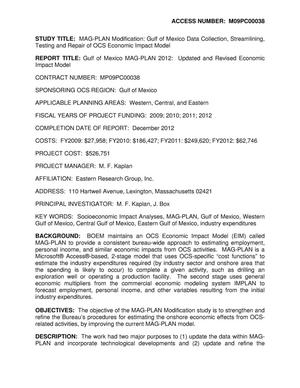 Primary view of object titled '[Project Summary: MAG-PLAN Modification: Gulf of Mexico Data Collection, Streamlining, Testing and Repair of OCS Economic Impact Model]'.