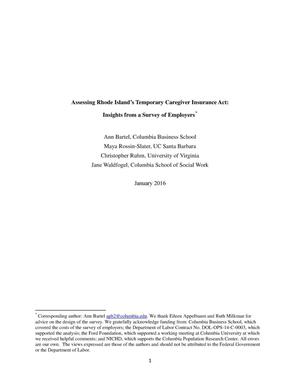 Primary view of object titled 'Assessing Rhode Islands Temporary Caregiver Insurance Act: Insights from a Survey of Employers''.