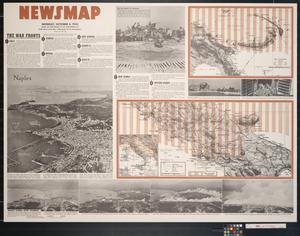 Primary view of object titled 'Newsmap. Monday, October 4, 1943 : week of September 23 to September 30, 212th week of the war, 94th week of U.S. participation'.