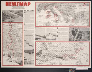 Primary view of object titled 'Newsmap. Monday, September 27, 1943 : week of September 16 to September 23, 211th week of the war, 93rd week of U.S. participation'.
