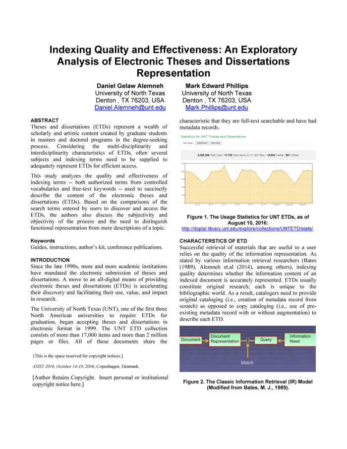 indexing quality and effectiveness an exploratory analysis of  indexing quality and effectiveness an exploratory analysis of electronic theses and dissertations representation