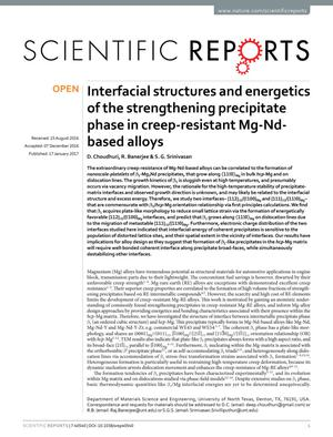 Primary view of object titled 'Interfacial structures and energetics of the strengthening precipitate phase in creep-resistant Mg-Nd-based alloys'.