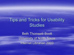 Tips and Tricks for Usability Studies