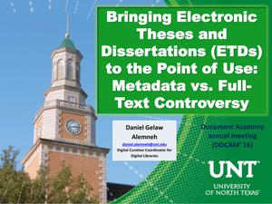 Primary view of object titled 'Bringing Electronic Theses and Dissertations (ETDs) to the Point of Use: Metadata vs. Full-Text Controversy'.