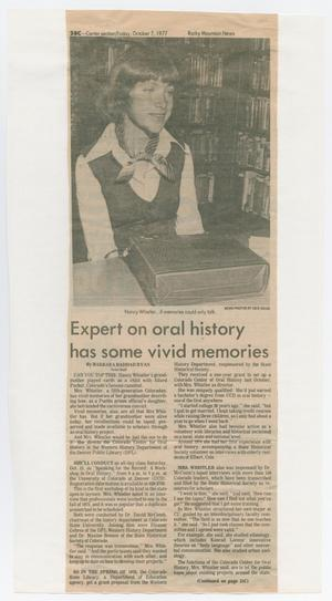 Primary view of object titled '[Expert On Oral History Newspaper Article from 1977]'.