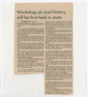 Primary view of object titled '[Newspaper Article on Oral History Workshop]'.