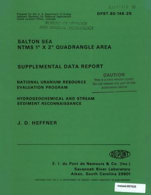 Primary view of object titled 'Salton Sea NTMS 1° x 2° Quadrangle Area: Supplemental Data Report'.