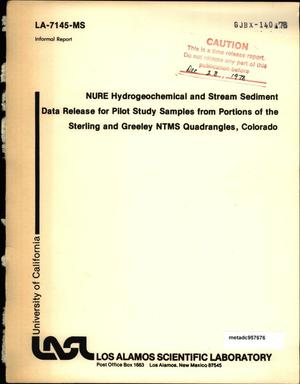 Primary view of object titled 'NURE Hydrogeochemical Stream Sediment Data Release for Pilot Study Samples From Portions of the Sterling and Greeley NTMS Quadrangles, Colorado'.