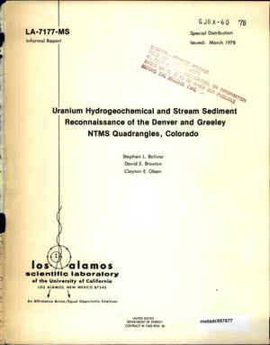 Primary view of object titled 'Uranium Hydrogeochemical and Stream Sediment Reconnaissance of the Denver and Greeley NTMS Quadrangles, Colorado'.