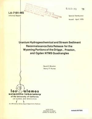 Primary view of object titled 'Uranium Hydrogeochemical and Stream Sediment Reconnaissance Data Release for the Wyoming Portions of the Driggs, Preston, and Ogden NTMS Quadrangles'.