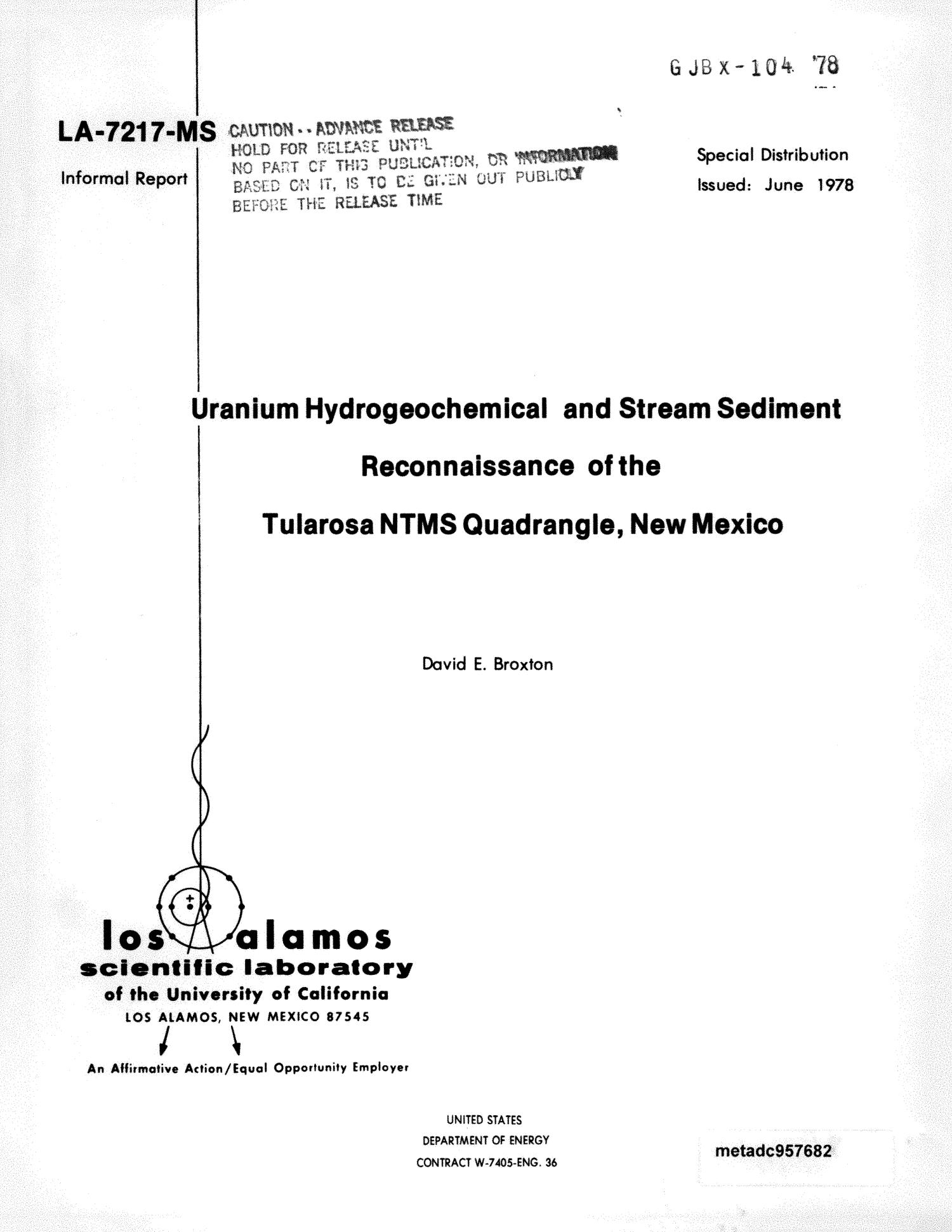 Uranium Hydrogeochemical and Stream Sediment Reconnaissance of the Tularosa NTMS Quadrangle, New Mexico                                                                                                      Front Cover