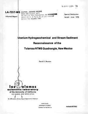 Primary view of object titled 'Uranium Hydrogeochemical and Stream Sediment Reconnaissance of the Tularosa NTMS Quadrangle, New Mexico'.