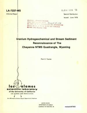 Primary view of object titled 'Uranium Hydrogeochemical and Stream Sediment Reconnaissance of the Cheyenne NTMS Quadrangle, Wyoming'.