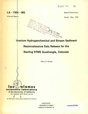 Primary view of object titled 'Uranium Hydrogeochemical and Stream Sediment Reconnaissance Data Release for the Sterling NTMS Quadrangle, Colorado'.