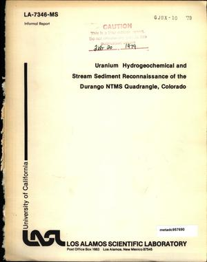 Primary view of object titled 'Uranium Hydrogeochemical and Stream Sediment Reconnaissance of the Durango NTMS Quadrangle, Colorado'.