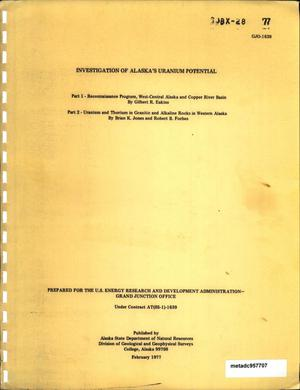 Primary view of object titled 'Investigation of Alaska's Uranium Potential'.