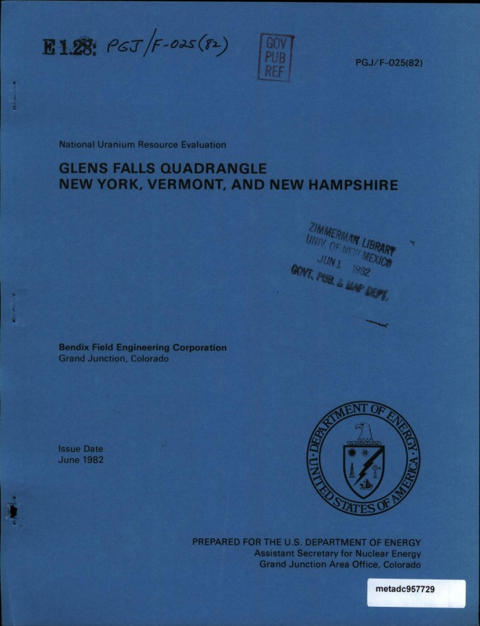 National uranium resource evaluation glens falls quadrangle new primary view of object titled national uranium resource evaluation glens falls quadrangle new publicscrutiny Image collections