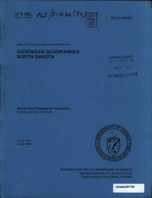 Primary view of object titled 'National Uranium Resource Evaluation: Dickinson Quadrangle, North Dakota'.