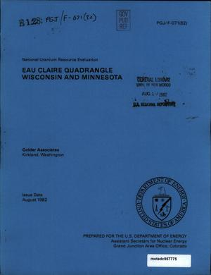 Primary view of object titled 'National Uranium Resource Evaluation: Eau Claire Quadrangle, Wisconsin and Minnesota'.